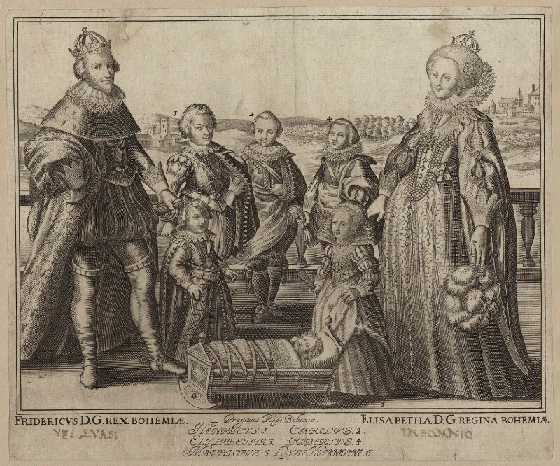 The King and Queen of Bohemia and their family  by Willem de Passe line engraving, 1622 or after NPG D26452  © National Portrait Gallery, London