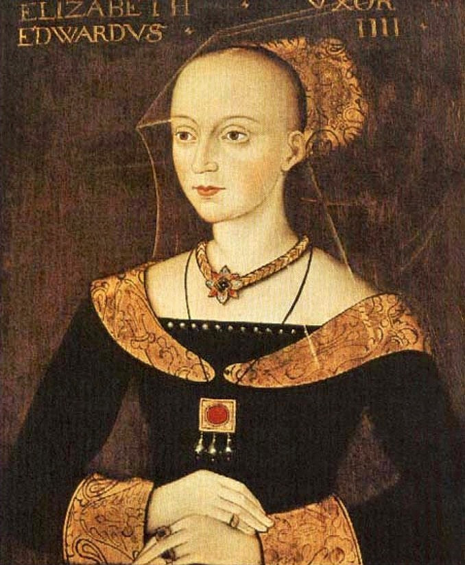 Elizabeth Woodville (1437-1492), Queen Consort of Edward IV of England. The portrait of her shown here is probably a multiple-generation copy of one taken from life. The College has several versions in differing states. She is shown posed in the high fashion of the day, with strained back hair and a partial veil.