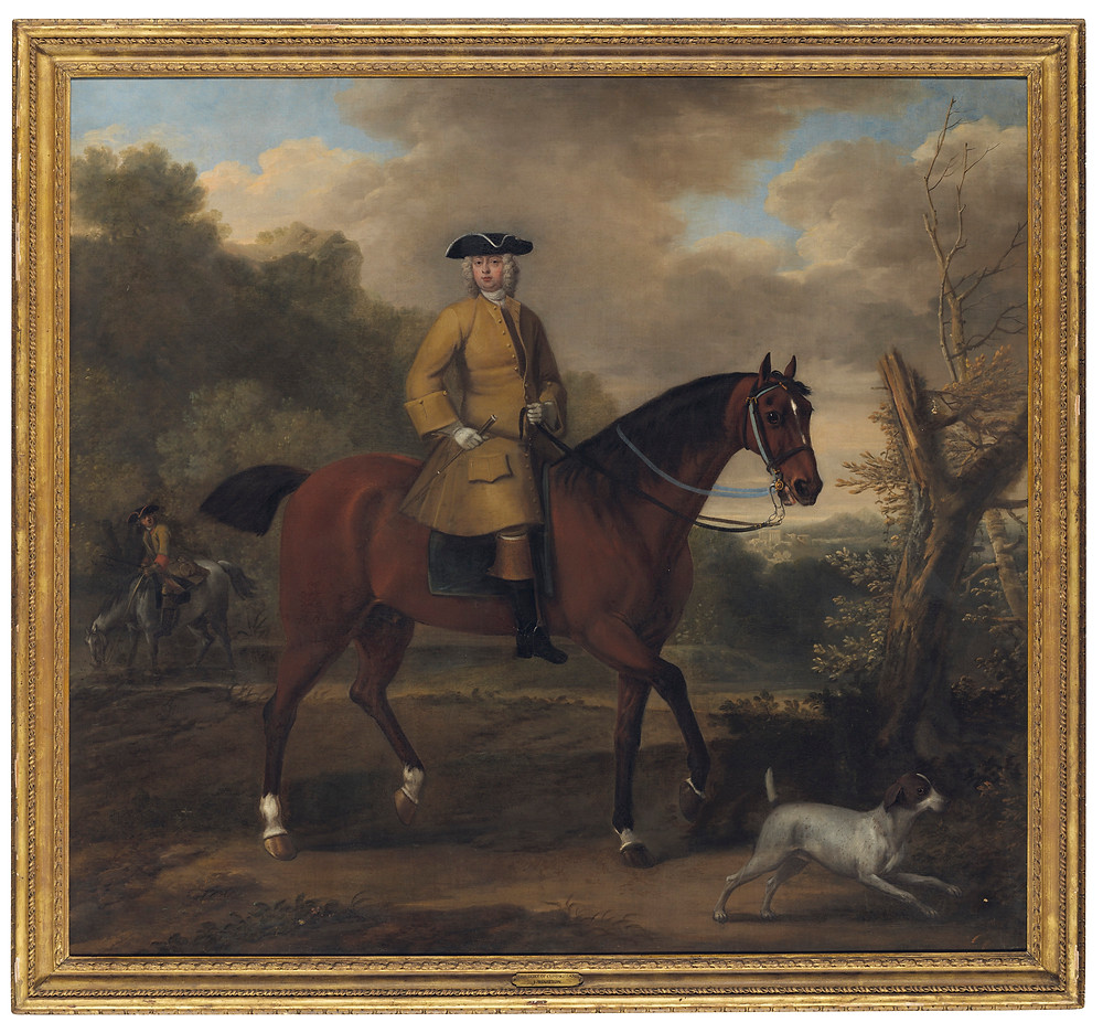 John Wootton (Snitterfield, Warwickshire c. 1682-1764 London)   Portrait of a gentleman, traditionally identified as William, Duke of Cumberland (1721-1765), on a dark bay hunter with a hound . Fine art at christies.com. Royal family history. British monarchy