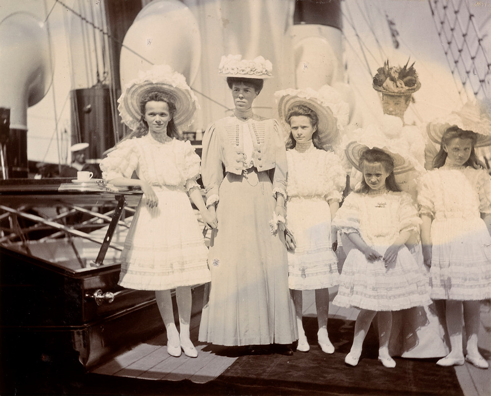 Dowager Empress Marie of Russia, with Grand Duchess Olga, Princess Peter of Oldenburg, & Grand Duchesses Olga, Tatiana, Marie & Anastasia, Jun 1908 . Royal Collection Trust/© Her Majesty Queen Elizabeth II 2019. Russian Royals, historic photo