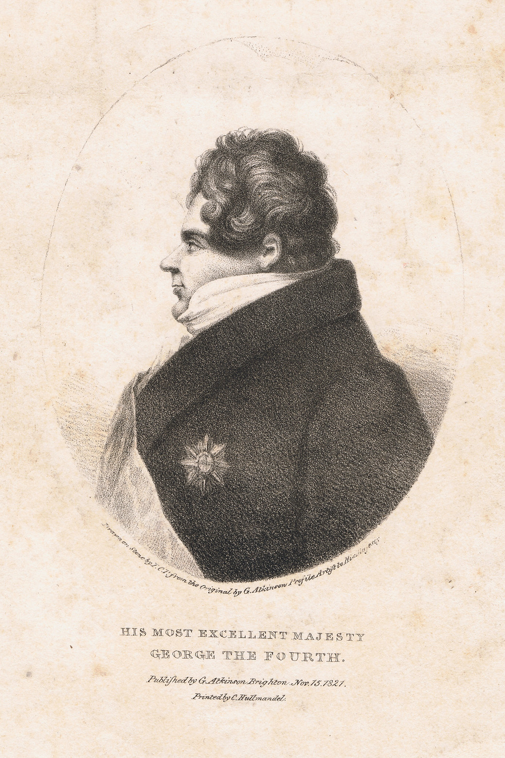 Lithograph of King George IV of Great Britain in profile, by George Atkinson, printed by C. Hullmandel, 1821.