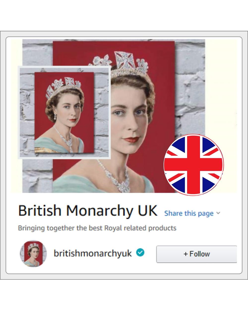 cover photo link to Britishmonarchy Amazon UK page. Queen Elizabeth II
