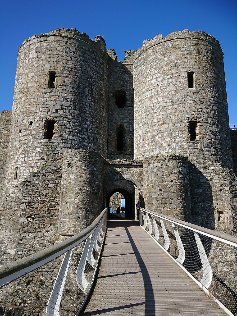 The gatehouse of Harlech Castle in North Wales. Medieval fortress