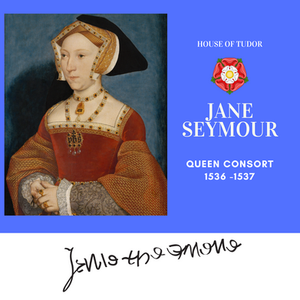 Jane Seymour, Queen of England as the third wife of Henry VIII. Royal history. Tudor rose