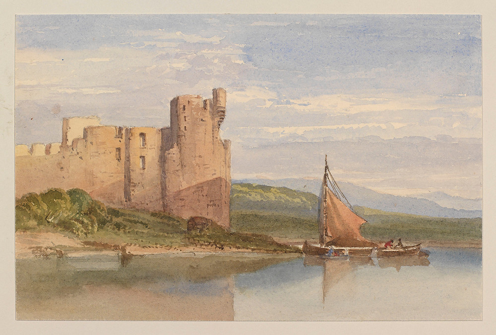 Ruined castle on the shore of a lake by Queen Alexandra. Royal Collection Trust/(c) Her Majesty Queen Elizabeth II 2019   Royal Collection Trust/(c) Her Majesty Queen Elizabeth II 2019