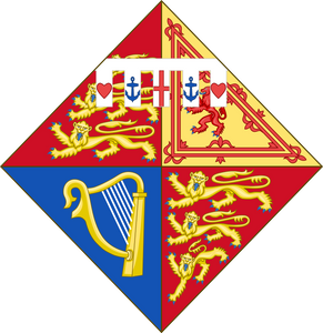 Arms of HRH Princess Alexandra, The Honourable Lady Ogilvy. (born 1936) only daughter of Prince George, Duke of Kent (fourth son of King George V) & Princess Marina of Greece and Denmark. The coat of arms was granted in 1961.