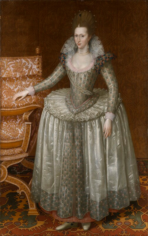 Anne of Denmark  by John De Critz the Elder oil on canvas, circa 1605-1610 79 3/8 in. x 49 3/4 in. (2016 mm x 1265 mm) Purchased, 2011 Primary Collection NPG 6918