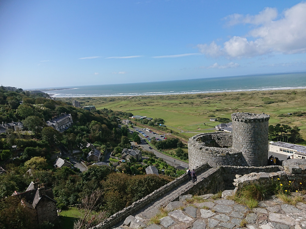 view from the top of Harlech Castle out to sea
