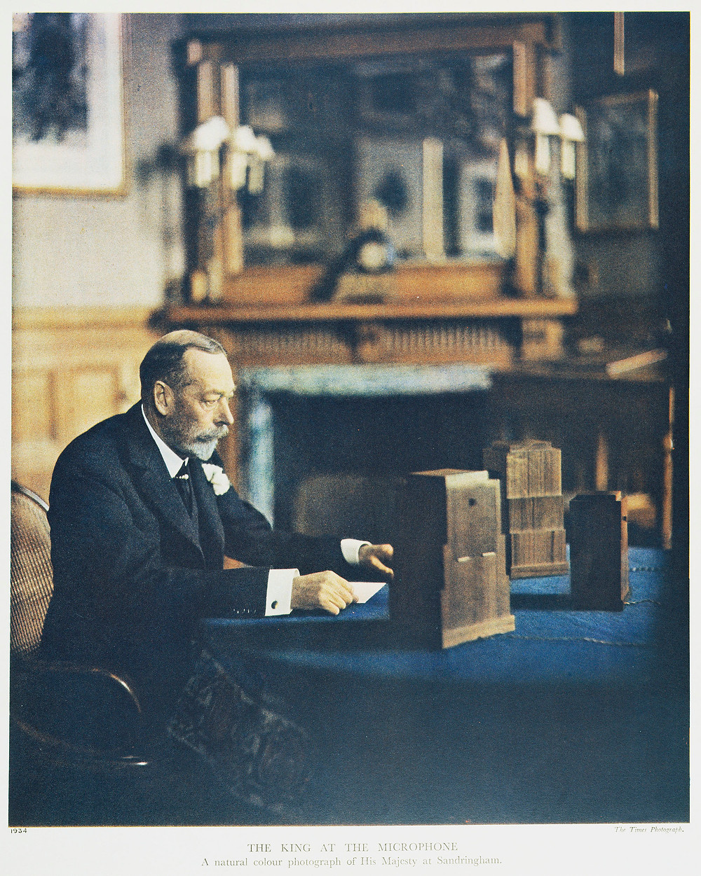 King George V speaking to his people's during the Christmas day king's speech from Sandringham House, 1934. Royal history, royal family, british monarchy