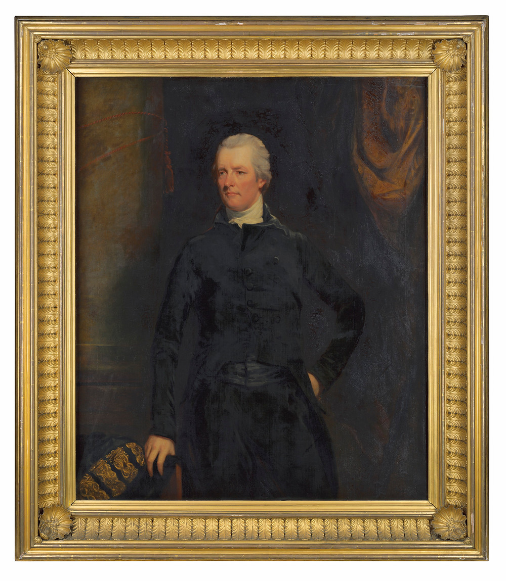 Fine art portrait. Studio of John Hoppner (London 1758-1810)   Portrait of William Pitt the Younger (1759-1806), three-quarter-length, in a black coat, with the robe of the Chancellor of the Exchequer . Christies.com. Royal art collection. Countess of harewood