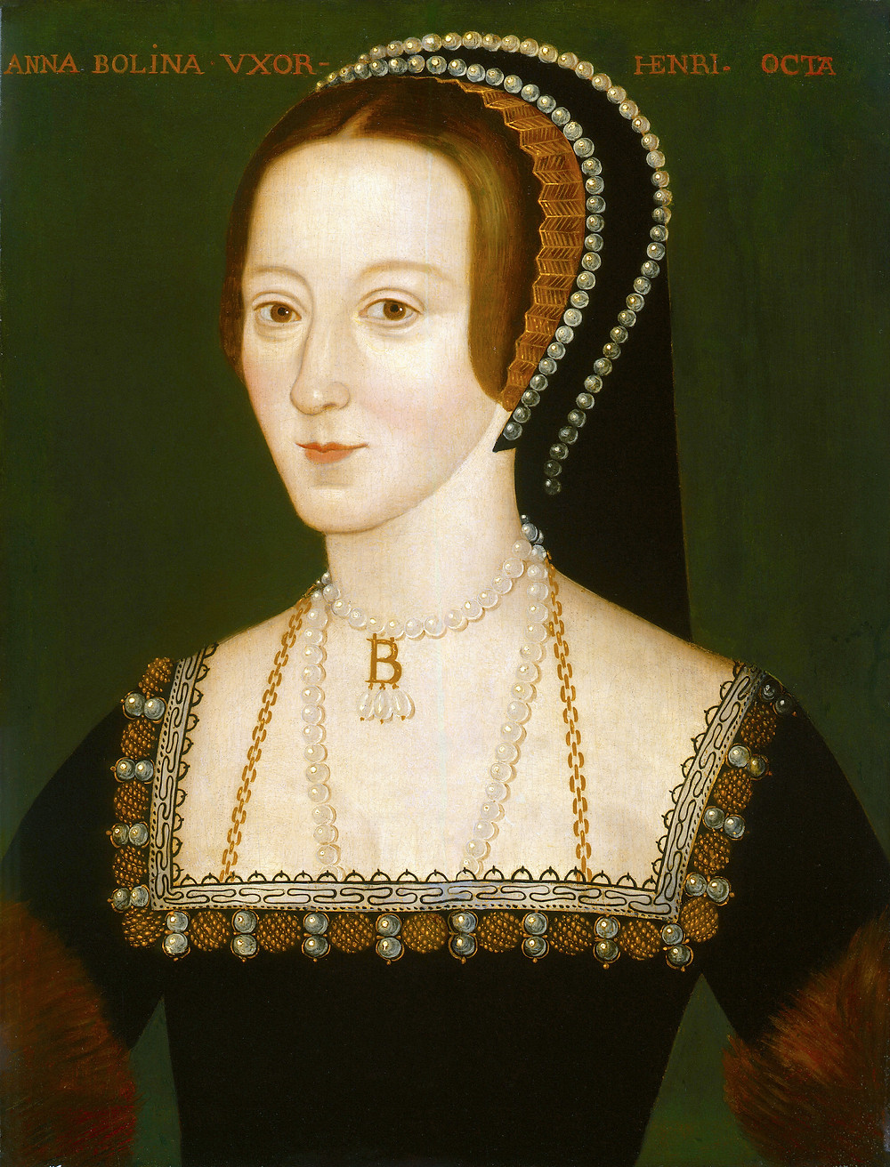 16th century portrait of Anne Boleyn by an unknown artist. Queen of England as the second wife of king Henry VIII