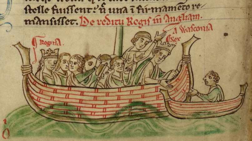 Eleanor of Provence (l) and Henry (r) returning to England from Poitou in 1243, by Matthew Paris