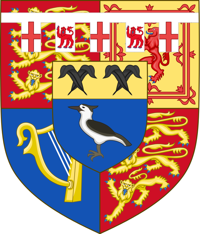 Coat of arms of Birgitte, Duchess of Gloucester (born 1946) the wife of Prince Richard, Duke of Gloucester, depicting her husband's armorial bearings surmounted by an escutcheon of pretence granted to her by Royal Warrant, since 1973. The Duke of Gloucester's arms & in the centre an escutcheon of pretence Azure a lapwing proper, on a chief Or two pairs of ostrich feathers in saltire Sable.