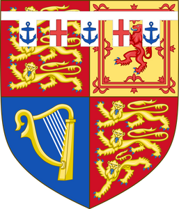 Arms of HRH Prince Edward, Duke of Kent. (born 1935) first son of Prince George, Duke of Kent (fourth son of King George V) & Princess Marina of Greece & Denmark. The coat of arms was granted in 1948.