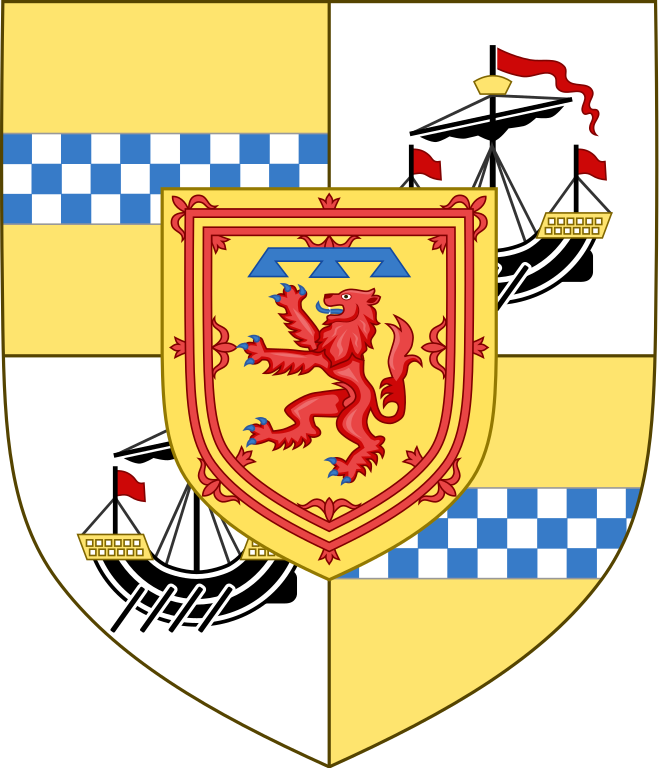 """Charles, Duke of Rothesay shield of arms. """"The Prince of Wales had the idea of incorporating his Scottish titles - Duke of Rothesay, Lord of the Isles and Great Steward of Scotland - into a banner"""