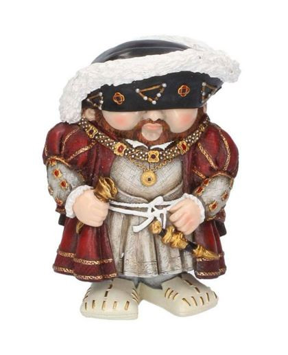 This Mini Me Model of Henry VIII standing as depicted in his famous portraits shows him with his luxurious robes, gold chains and his fur hat covering his eyes. The Tudor king, well known for marrying six times, building castles and his ruthlessness is now a collectable figure, cast in miniature from high quality resin and hand painted. This Henry VIII model makes the perfect gift for those wanting to take home this larger than life king in miniature! sold by English heritage shop