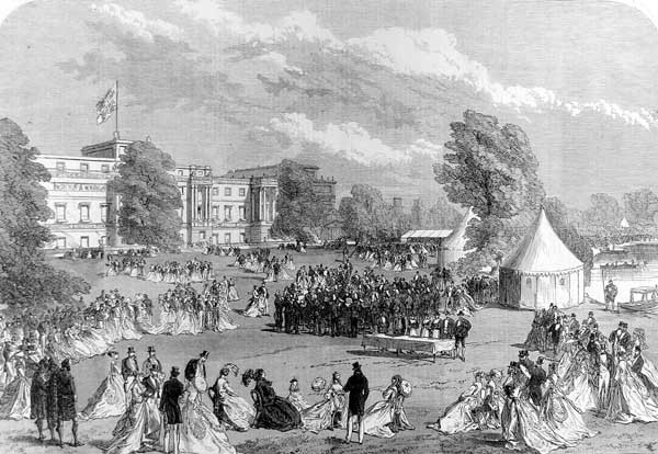 A garden party at Buckingham Palace in 1868, held by Queen Victoria