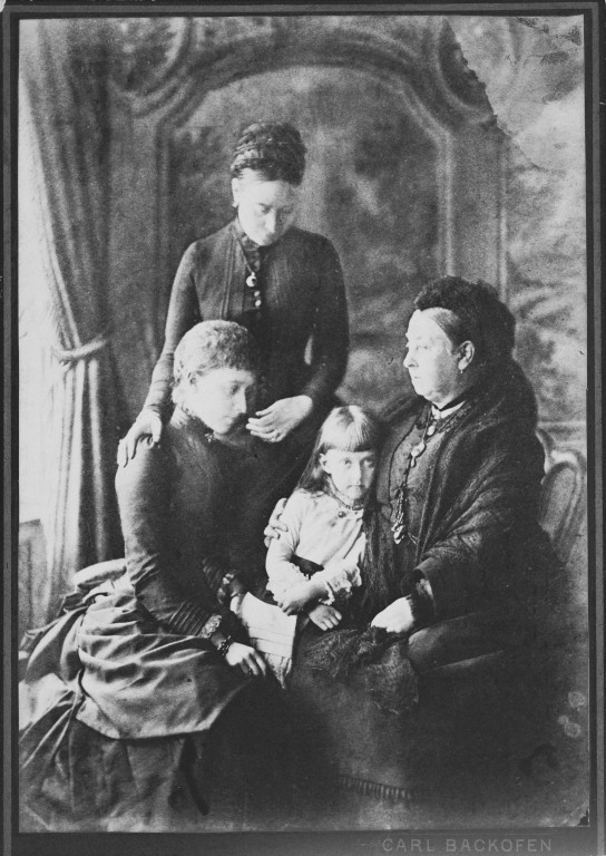 Group photograph of four generations, Queen Victoria (1819-1901) with Victoria, Crown Princess of Prussia (1840-1901); Charlotte, Princess Bernhard of Saxe-Meiningen (1860-1919) and Princess Feodore of Saxe-Meiningen. Royal Collection Trust/© Her Majesty Queen Elizabeth II 2018