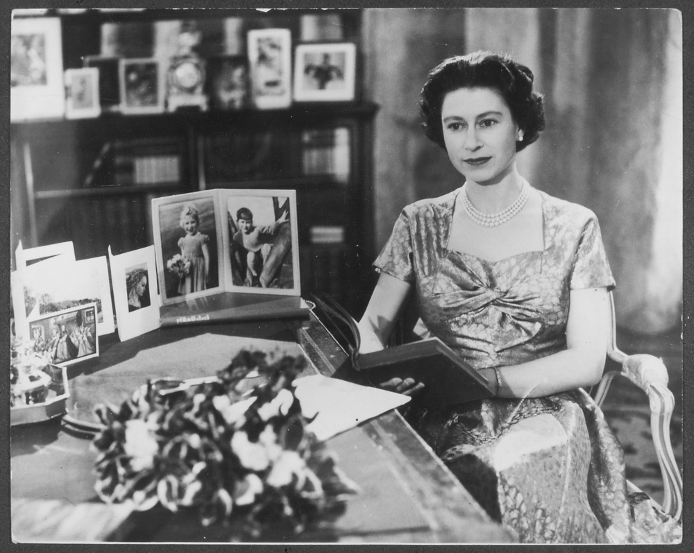 Queen Elizabeth pictured during her first ever televised Christmas Day message. Royal family, British monarchy