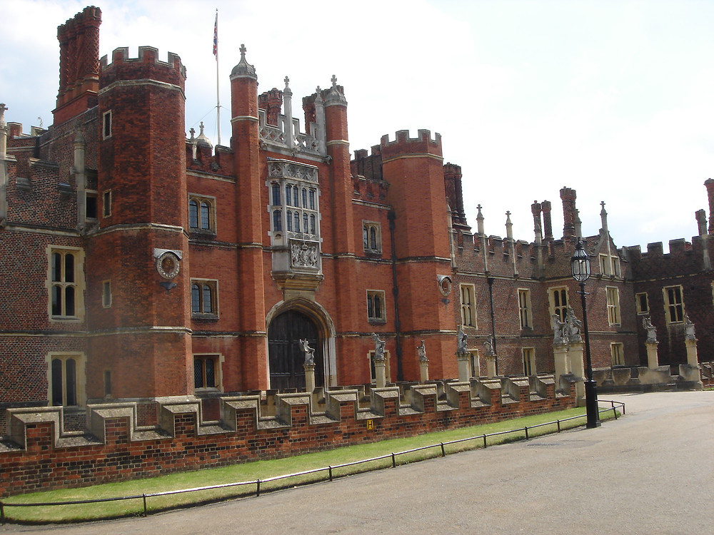 Hampton Court Palace view of the front. Royal palace