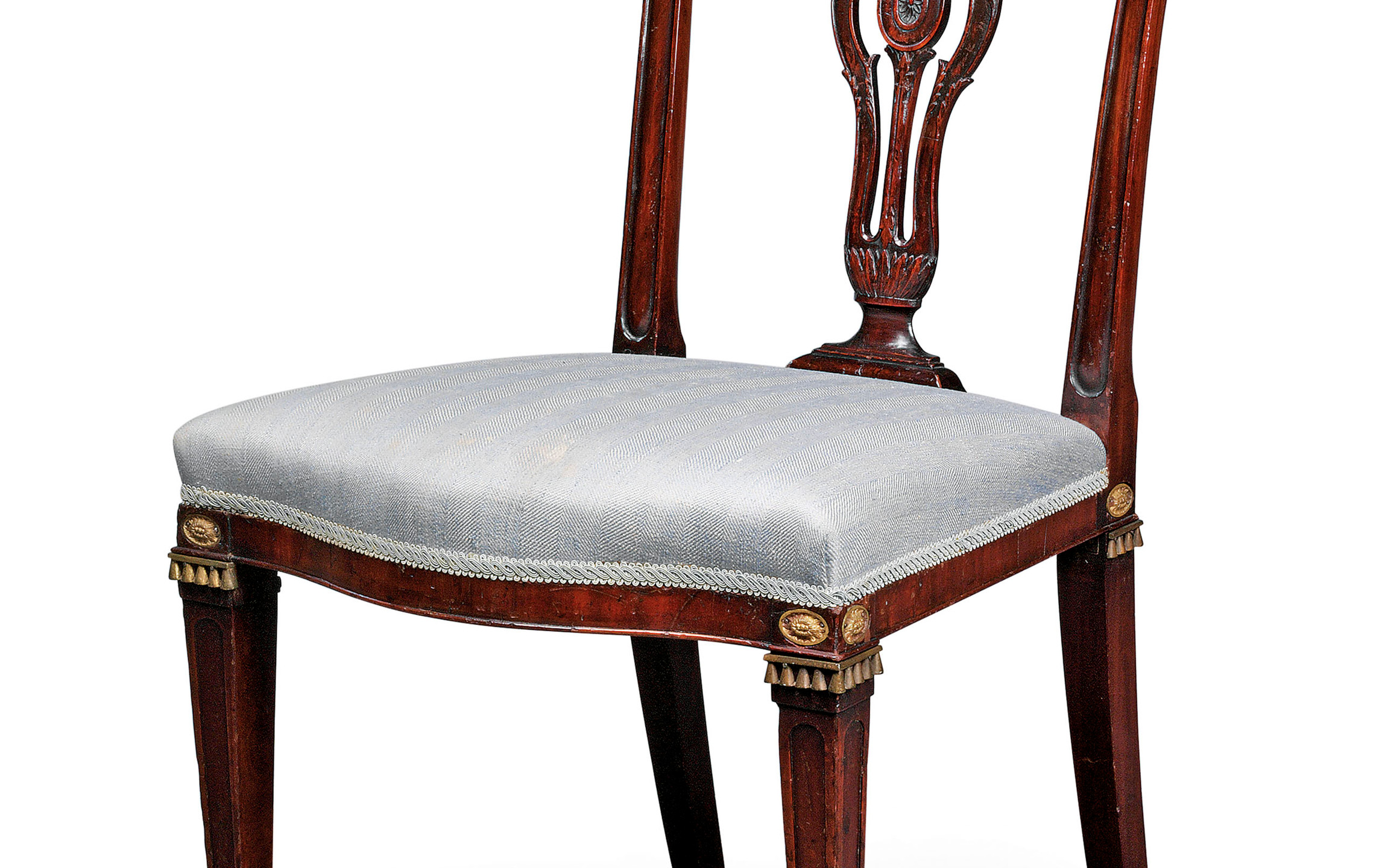 A SET OF NINETEEN GEORGE III MAHOGANY DINING-CHAIRS   CIRCA 1775, IN THE MANNER OF JOHN LINNELL . christies sale