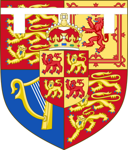 Shield of arms of HRH Prince Charles, the Prince of Wales (born 1948) son of Queen Elizabeth II and Prince Philip the Duke of Edinburgh. The arms was granted in 1958 to him as the Heir-Apparent to the British and Commonwealth thrones.