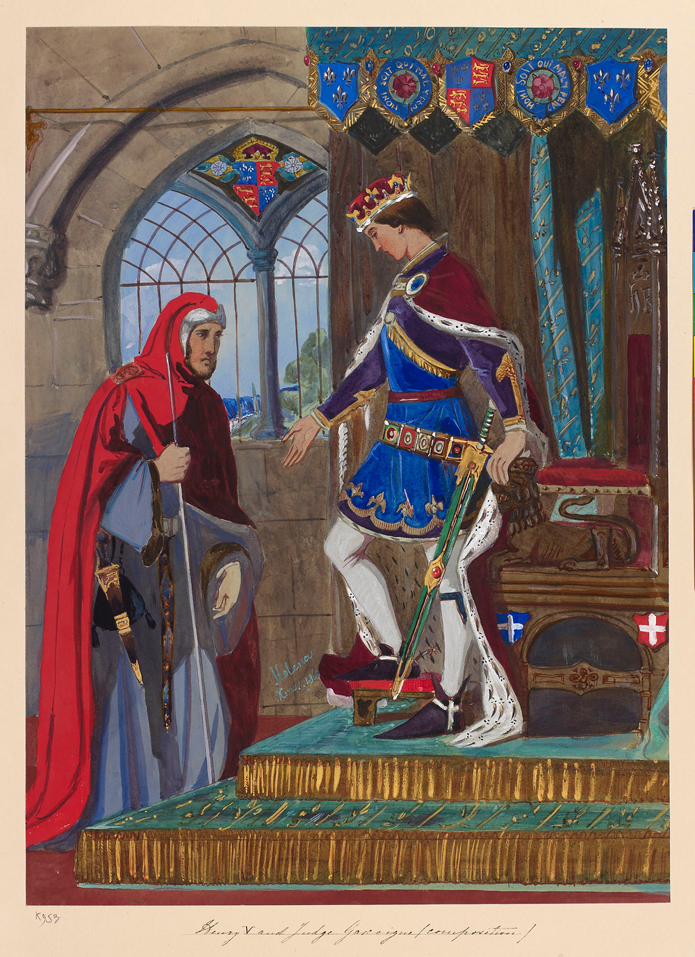 Henry V and Judge Gascoigne dated Xmas 1860 painted by Princess Helena