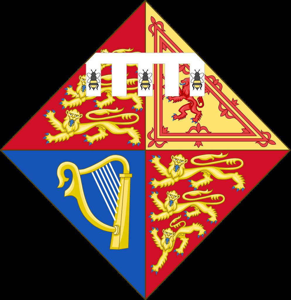 Arms of Princess Beatrice of York, eldest daughter of Prince Andrew, Duke of York & Sarah Ferguson, Duchess of York.