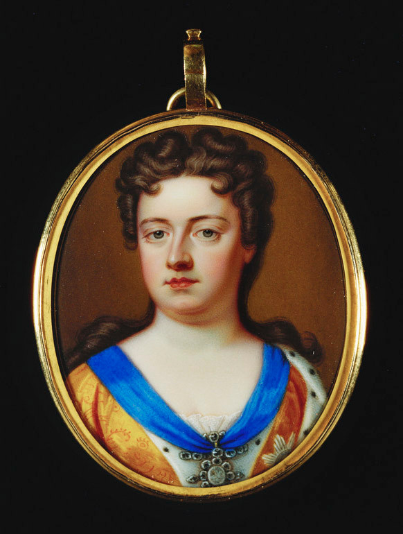 Based on Sir Godfrey Kneller's standard portrait of Queen Anne of 1705, this enamel copy by Charles Boit shows the monach wearing an embroidered dress, an ermine cloak and the insignia of the Order of the Garter. The enamel is set in a gilt frame on the reverse of which is the monogram 'AR' surmounted by a crown. Miniature and setting together would have constituted an ideal presentation gift from the monarch and it is likely that Boit was employed to produce a number of similar images for distribution by Queen Anne to those in her immediate circle. Treasury papers record, for example, a payment of £26.17s.6d. to Boit for an enamel of Queen Anne given to 'Mrs Cooke'. Charles Boit, who was born in Stockholm, had settled in England in 1687 and worked as Court Enamellist to William III prior to his employment by Queen Anne.