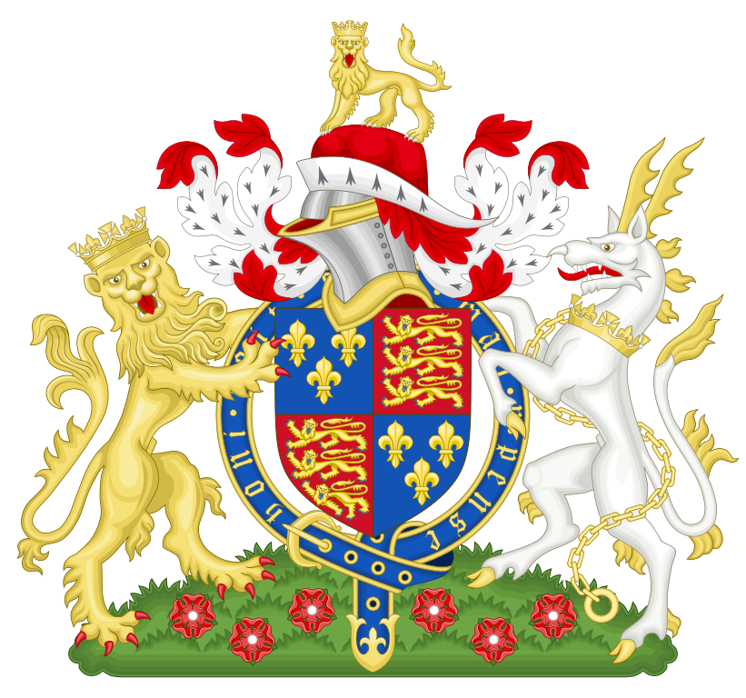 Henry V coat of arms, source= By SodacanThis W3C-unspecified vector image was created with Inkscape. [GFDL (http://www.gnu.org/copyleft/fdl.html) or CC BY-SA 3.0  (https://creativecommons.org/licenses/by-sa/3.0)], from Wikimedia Commons