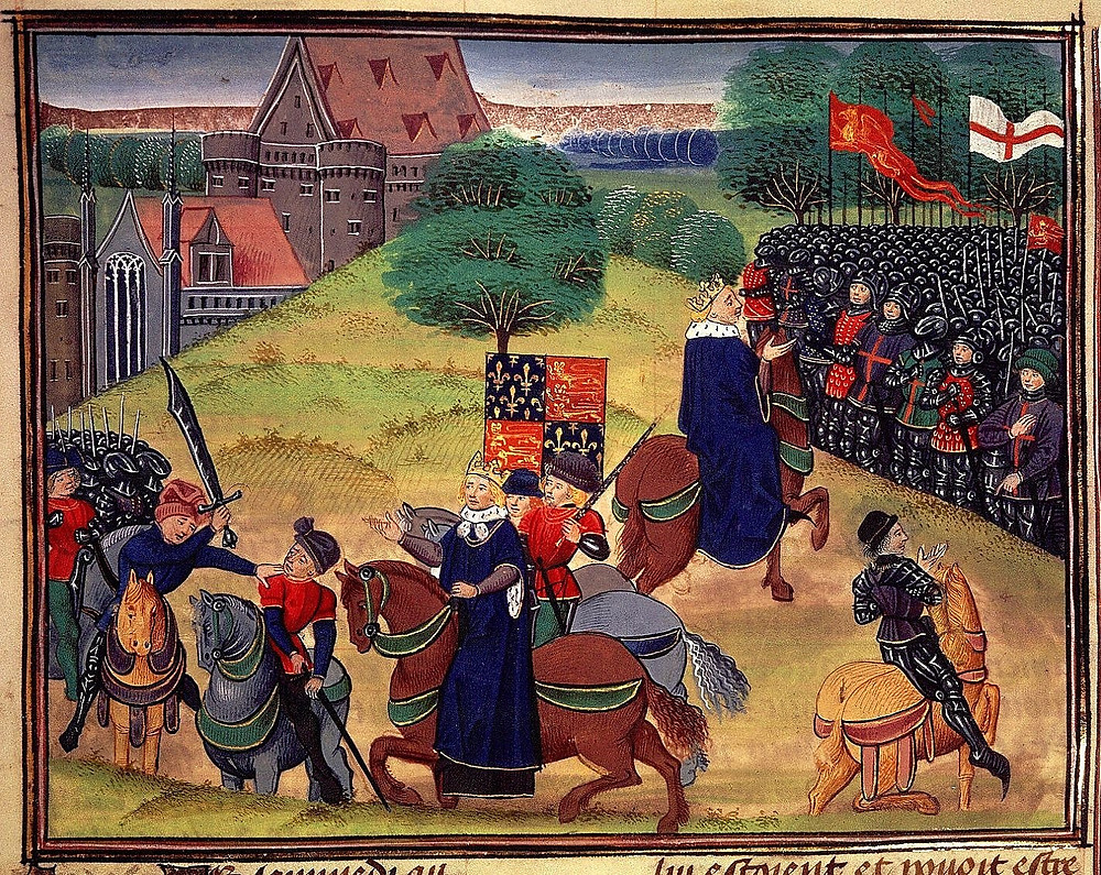 Late 14th-century depiction of William Walworth killing Wat Tyler; the King is represented twice, watching events unfold (left) and addressing the crowd (right). British Library, London.