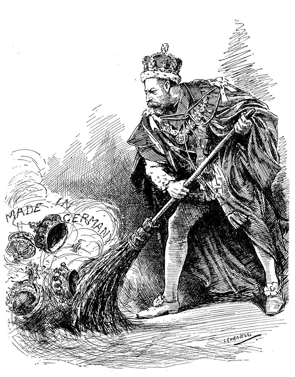 —a 1917 Punch cartoon depicts King George sweeping away his German titles. George changed the Royal name from House of Saxe-Coburg and Gotha to the Houseo of Windsor