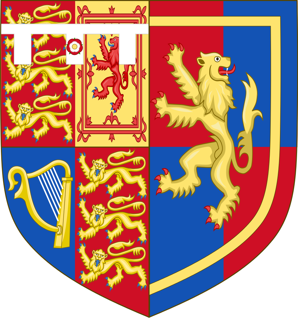 The arms of the Earl of Wessex impaled with those granted in 1999 to her father, Christopher Rhys-Jones, with remainder to his elder brother Theo. The new grant was based on an unregistered 200-year-old design. The lion alludes to one of the Countess' ancestors the Welsh knight Elystan Glodrydd, prince of Ferrig (represented by the lion).