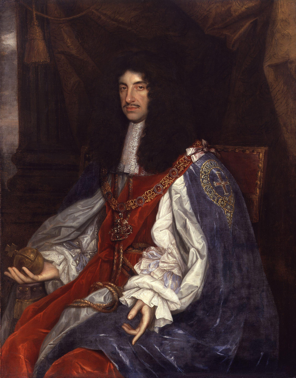 King Charles II by John Michael Wright. portrait painting of the third Stuart king of England