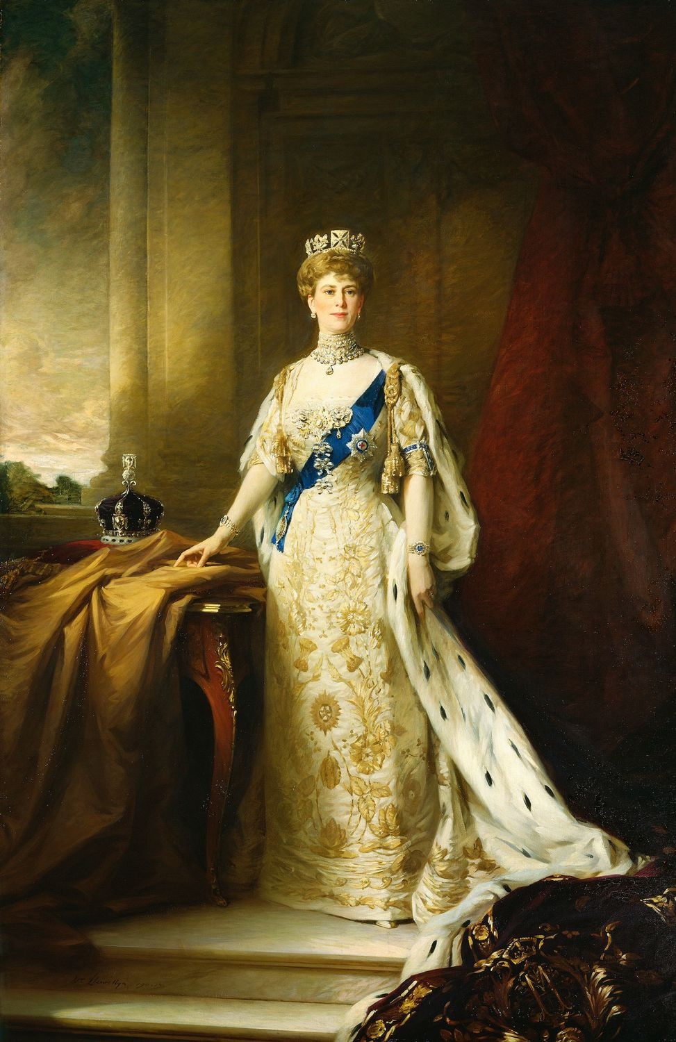 Queen Mary in coronation robes Portrait by William Llewellyn, c. 1911
