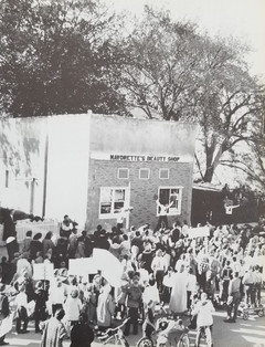 1960 School Pep Rally in front of 314 Main St.