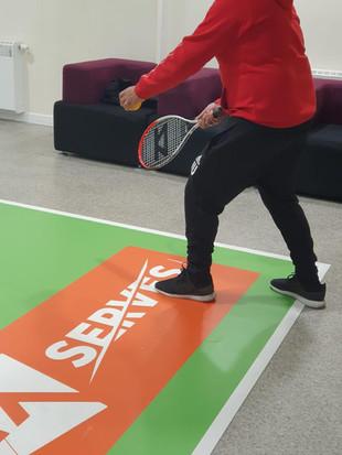 Tennis mat at centre