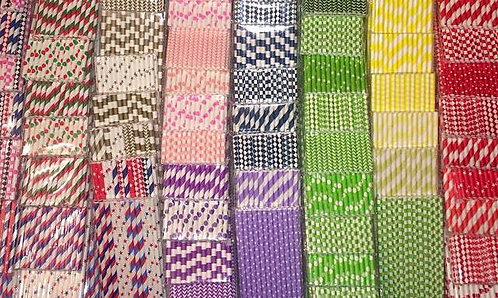 12 Decorated Paper Straws