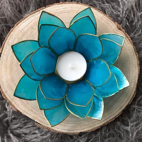 Lotus theelicht houder turkoois