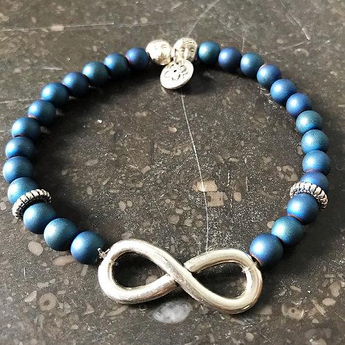 Armband lemniscaat blauwe hematiet