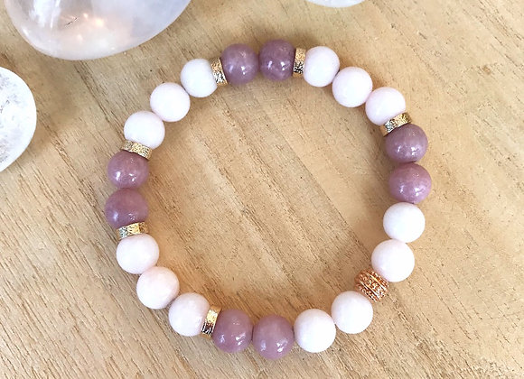 Armband licht en donker roze jade