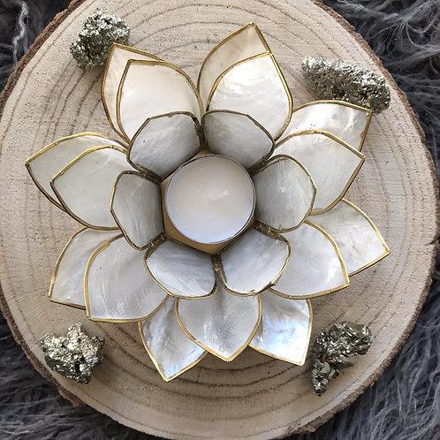 Lotus theelicht houder wit
