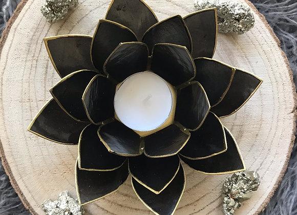 Lotus theelicht houder zwart