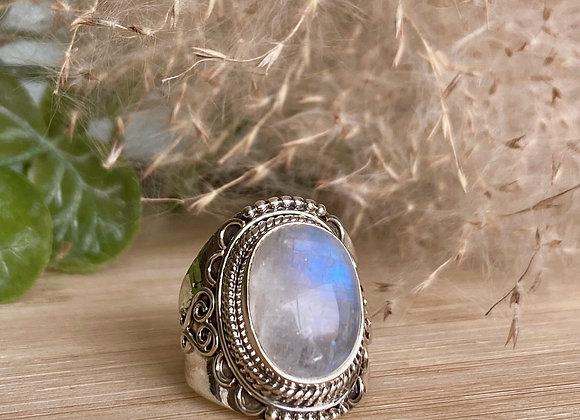 Zilveren ring regenboog maansteen