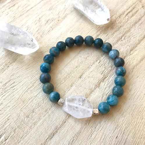 Armband apatiet en bergkristal