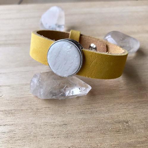 Lederen armband geel