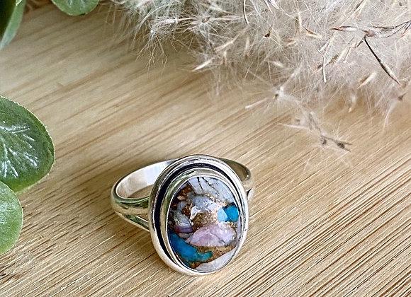 Zilveren ring turkoois in roze opaal