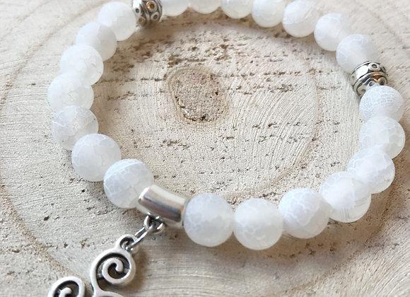 Armband matte witte agaat