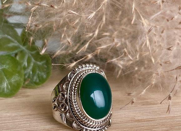 Zilveren ring groene onyx