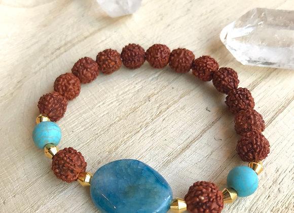 Armband agaat en rudraksha